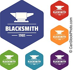 Blacksmith icons vector hexahedron - Blacksmith icons vector...