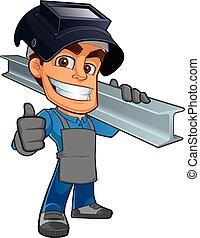 Blacksmith - friendly blacksmith or welder, wearing a girder