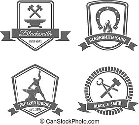 Set of blacksmith labels. Element and smith, metal and tongs, emblem and hummer. Vector illustration