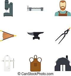 Blacksmith man icon set, flat style