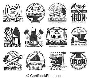Blacksmith, metal or iron work rool icons - Blacksmith, ...