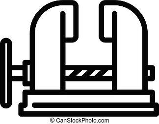 Blacksmith metal vise icon, outline style - Blacksmith metal...