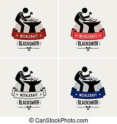 Blacksmith metal work logo design.
