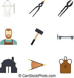 Blacksmith profession icon set, flat style