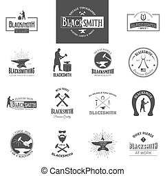 Blacksmith. Set of vintage typography posters, labels and prints.