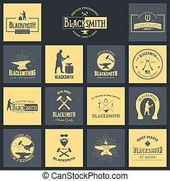 Blacksmith. Set of vintage typography posters, labels and...