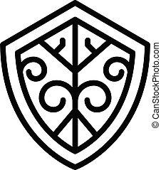 Blacksmith shield icon, outline style - Blacksmith shield ...