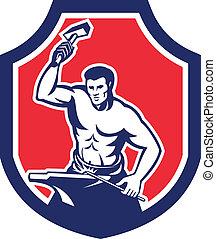 Blacksmith Striking Anvil with Hammer Shield - Illustration...
