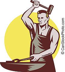 blacksmith striking hammer and anvil - retro style...