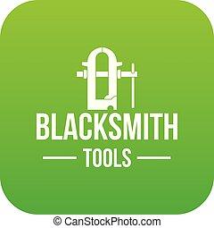 Blacksmith tool icon green vector
