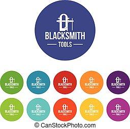 Blacksmith tool icons set vector color