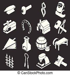 Blacksmith tools icons set grey vector