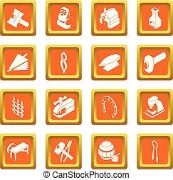 Blacksmith tools icons set orange square vector