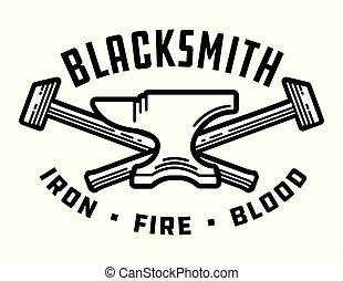 Blacksmith vector emblem or badge.