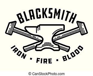 Blacksmith vector emblem or badge. - Retro style blacksmith...