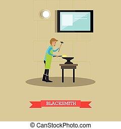 Blacksmith vector illustration in flat style