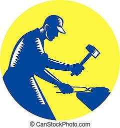 Blacksmith Worker Forging Iron Circle Woodcut