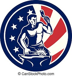 blacksmith_hammer_anvil_front_CIRC-USA-FLAG-ICON - Icon...