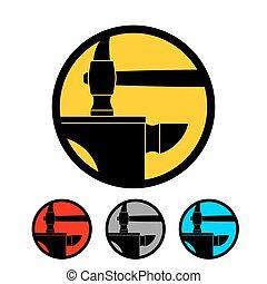 Blacksmithing emblem. Logo for smithy. Wrought iron. Hammer...