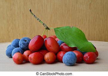 Blackthorn berries and Cornus mas on wooden background