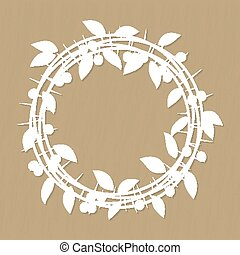 Blackthorn berries branches and leaves frame for laser or...