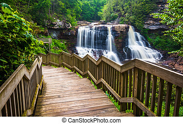 Blackwater Falls and a trail at Blackwater Falls State Park,...