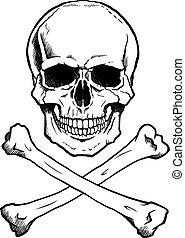 black/white, cranio umano, e, crossbones