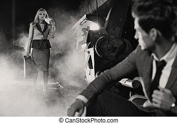 black&white fénykép, közül, klasszikus, gyűlés