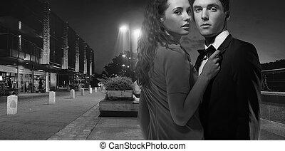 black&white foto, van, aantrekkelijk, jong paar