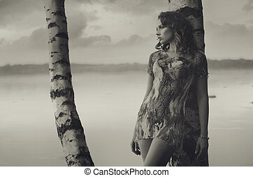 black&white foto, van, shapely, brunette, meisje