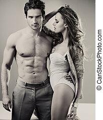 black&white-foto, von, perfekt, paar