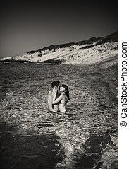 black&white, imagen, de, pareja joven