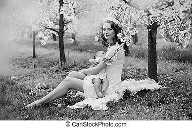 black&white, porträt, von, a, mutter, zufuhr babys