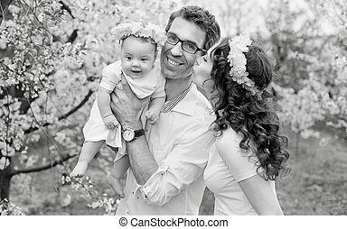 Black&white portrait of a happy family
