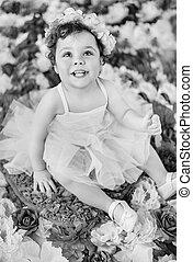 Black&white portrait of a little ballerina