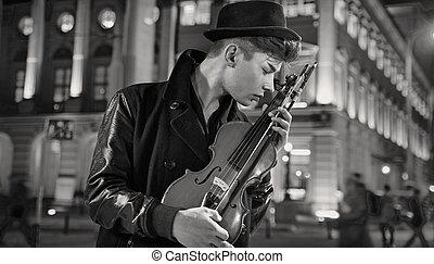 Black&white portrait of the musician