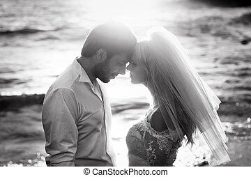 Black&white portrait of young newlyweds - Black&white...