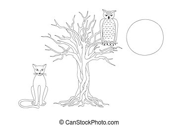 black&white print with elegant cat, owl and tree