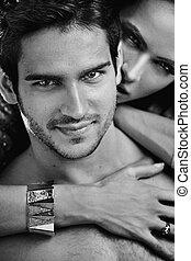 black&white, retrato, de, fabuloso, pareja