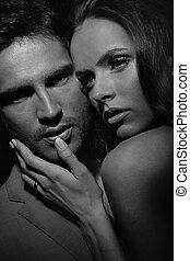 black&white, retrato, de, sensual, pareja