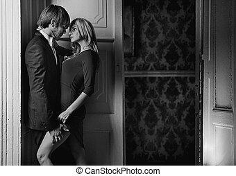 black&white, retrato, de, un, pareja