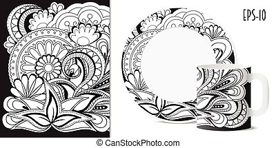 black&white zen floral pattern with mandalas for dishes