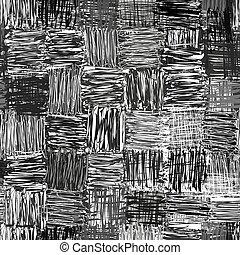 Black,white,grey checkered seamless pattern with grunge...