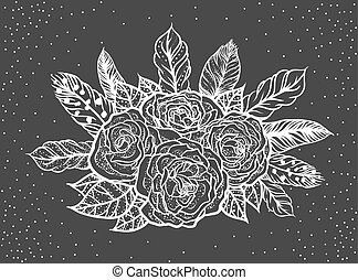 Blackwork tattoo of rose and feathers bouquet vector illustration. Boho