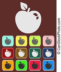 blad, äpple, symbol., underteckna, frukt, icon.