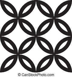 blad, abstract, kruis, element, vier, gecombineerd, floral,...
