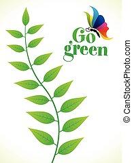 blad, abstrakt, kreative, gå, kunstneriske, grønne