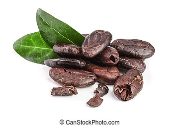 blad, afpellen, vrijstaand, cacao, boon, achtergrond, witte