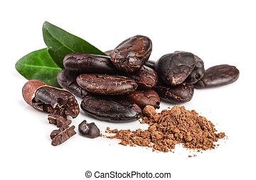 blad, afpellen, vrijstaand, cacao, boon, poeder, achtergrond, witte