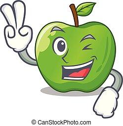 blad, appel, rijp, karakter, twee, groene, vinger